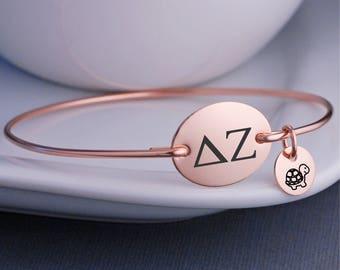 Delta Zeta Jewelry, Personalized Delta Zeta Sorority Bangle Bracelet, Sorority Sister Jewelry