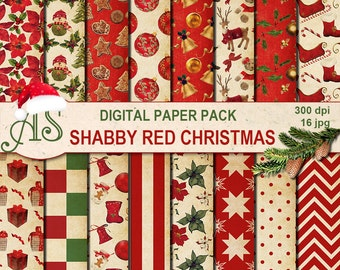 Digital Shabby Chic Red Christmas Pack, 16 printable Digital Scrapbooking papers, vintage new year, decoupage, Instant Download, set 253