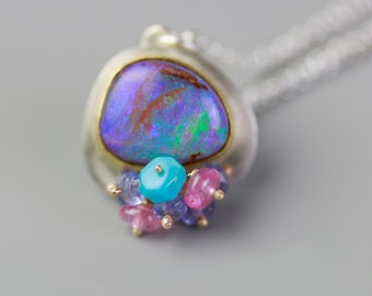 Solid Boulder Opal Necklace with Mixed Gemstone Clusters. 22k Gold and Argentium Sterling Silver.