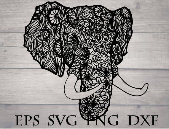 Mandala elephant svg / zentangle elephant svg flourish