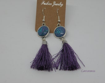 Round polymer clay earrings turquoise and purple
