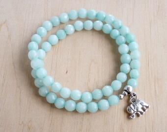 Amazonite Bracelet for women Gift Elephant Bracelet for her Amazonite Jewelry Elephant Charm Bracelet Women Beaded Bracelet Stretch Bracelet