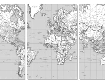 World usa specialty maps personilization by coolowlmaps on etsy world wall map black white split in 3 panels each panel is 24wx36 gumiabroncs Gallery