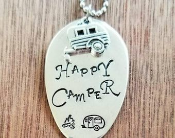 Stamped Spoon Necklace. Happy Camper