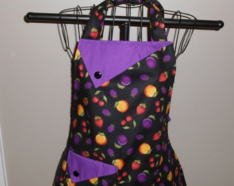 Plums, Strawberries and Peaches - Women's Apron - Ruffle - Pocket - Fruit - Fall - Autumn