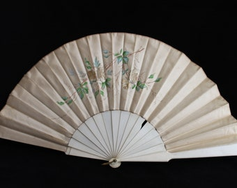 19th century cream embroidered and painted silk satin fan, wedding brides fan, alternative to wedding bouquet, Steampunk fan,