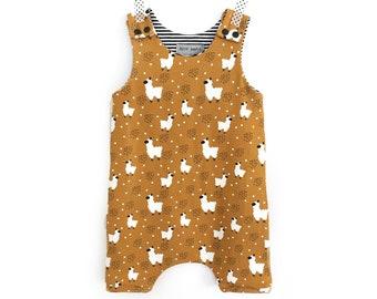 Short jumpsuit harem pants LAMA - babies, children mustard Jersey - little bandit romper