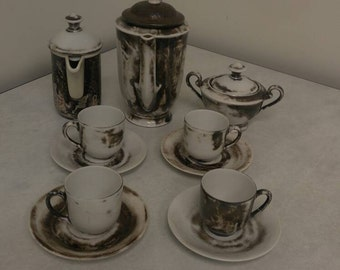 Rare Smoke Bavaria Feinsilber Dekor Vintage Tea Pot, Creamer, Sugar, Cups, Saucers Set