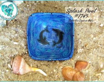 Dolphins Trinket Bowl, Handpainted Wood, *blue with swirls* Splash Pool: #1745