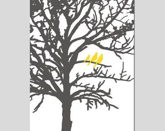 Three Birds in a Tree Nursery Art - 13x19 Print - Bird Family - CHOOSE YOUR COLORS - Shown in Gunmetal Gray and Yellow
