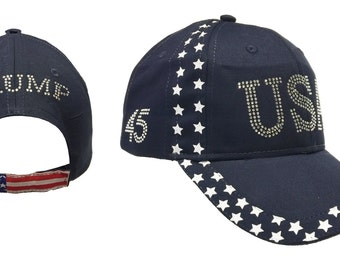 Rhinestones Navy Trump Usa 45 President Inauguration 100% cotton Cap  Hat Free Shipping