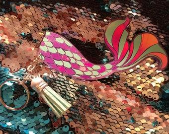 Mermaid tail keychain.