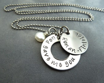 God gave me you custom hand stamped stainless steel necklace