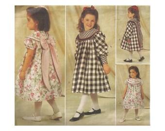 Girls Gathered Yoke Dress Pattern Uncut Vintage 1990s Butterick 4215 Designer Judy Lynn Childrens Size 4-6 Breast 23 24 25