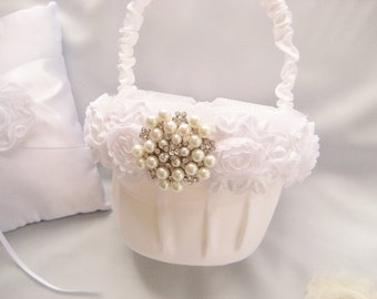 White Flower Girl Basket - Ruffles and Pearls