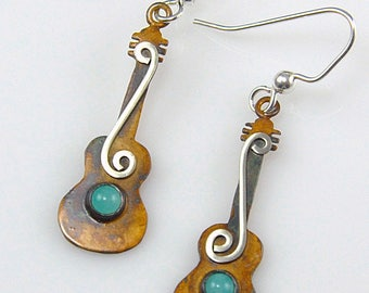 Patina Silver Guitar Earrings with Seafoam Green Amazonite Gemstones and Silver Spirals,  Sterling Silver Guitar Earrings