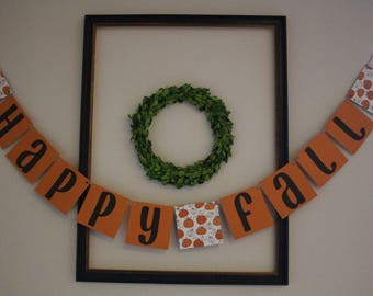 Happy Fall Hanging Banner / Orange, Brown, & Pumpkins / Fall Decor / Autumn Decor / Thanksgiving Decorations / Party Decor / Holidays