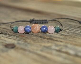 Sunstone, Sodalite, Rose Quartz, Apatite, Yoga Bracelet, Crystal Healing Bracelet, Meditation Bracelet, Stack, Prayer Bracelet