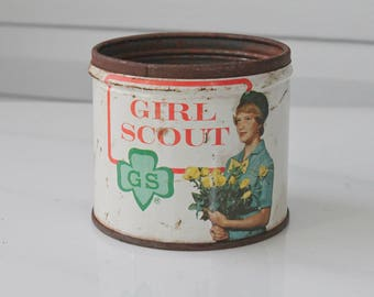 Vintage Girl Scout Peanut Can-Girl Scout Holding Flowers-Candy Tin