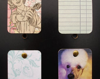 Mini Wall Art Upcycled Retro Lady Map Poodle Floral Pastels set of 4 FREE SHIPPING