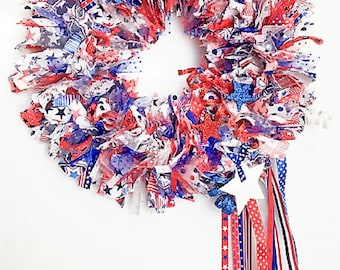 Flag Wreath, Patriotic Wreath, July 4th Wreath, Door Wreath, Rag Wreath, Fabric Wreath, American Wreath, Red, White, and Blue, Americana