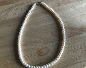 Sale 17 inch Cream Freshwater Pearl Necklace with a Sterling Silver Clasp