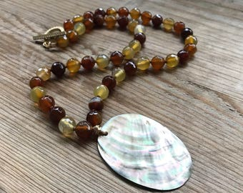 Jade and Shell Necklace - Amber, Brown and Peach Boho Chic Fall Fashion Gemstone Pearl Jewelry Beachy Statement Necklace Gifts Under 100