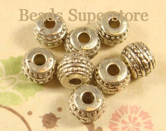 7 mm x 5 mm Antique Silver Rondelle Spacer Bead - Nickel Free, Lead Free and Cadmium Free - 20 pcs