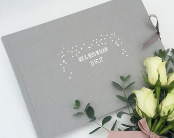 Wedding Fabric Guest Book, Personalised Wedding Guestbook, Wedding Photo Album, Gold Foiled Wedding Guestbook