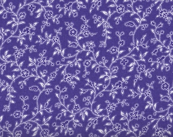 Purple Fabric, Purple and White Floral Fabric, Floral Fabric, 1 yard fabric, 01685