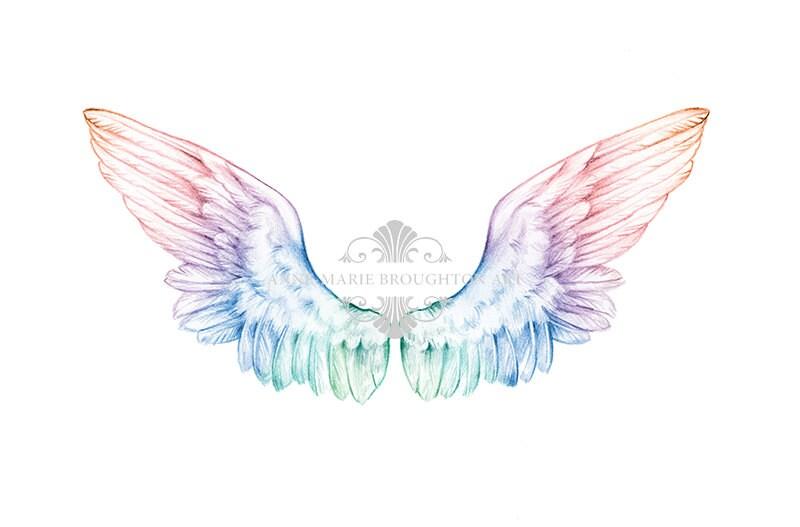8x10 inch PRINT Angel Wings Art Colour Splash Rainbow