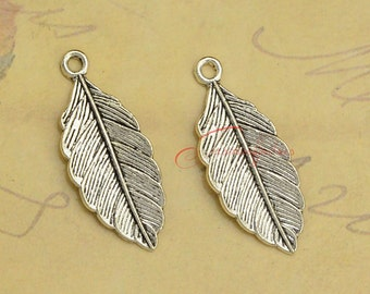 25PCS--31x13mm ,Leaf Charms, Antique Tibetan silver Leaf charm pendants , DIY supplies,Jewelry Making JAS6200D