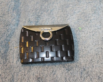 Vinage Compact Double Mirror, Handheld Mirror,  Perfect for the Purse, Clutch, and Evening Out,  It is Black and Made of Hard Substance,