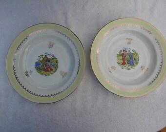 Pair of Vintage French Limoges Dessert Plates, Japanese scenes, Porcelain, Gilt edged.