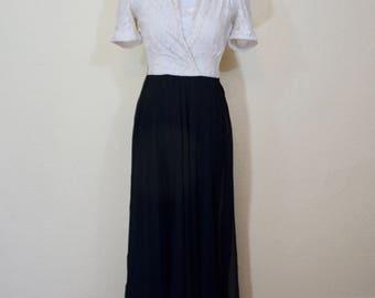 1940's ivory lace and black chiffon dress