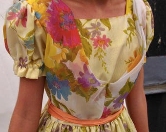 Vintage 1960s H Bar C Yellow Floral Party Dress with Puff Sleeves