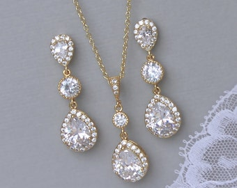 Gold Wedding Jewelry Set, Crystal Earrings & Necklace Set, Teardrop Jewelry, Gold Bridesmaids Jewelry Set, Clip On Option,  TAMARA G5