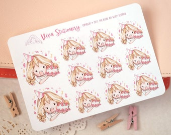 Kawaii Girl Celebrating Birthday, Anniversary Decorative Stickers ~Valerie~ For your Life Planner, Diary, Journal, Scrapbook...