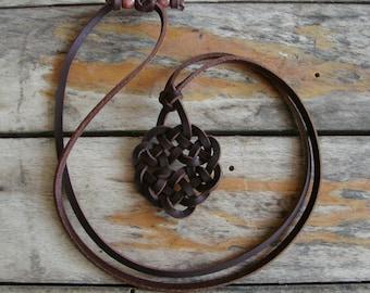 Celtic Four Seasons -- Spanish Leather Necklace