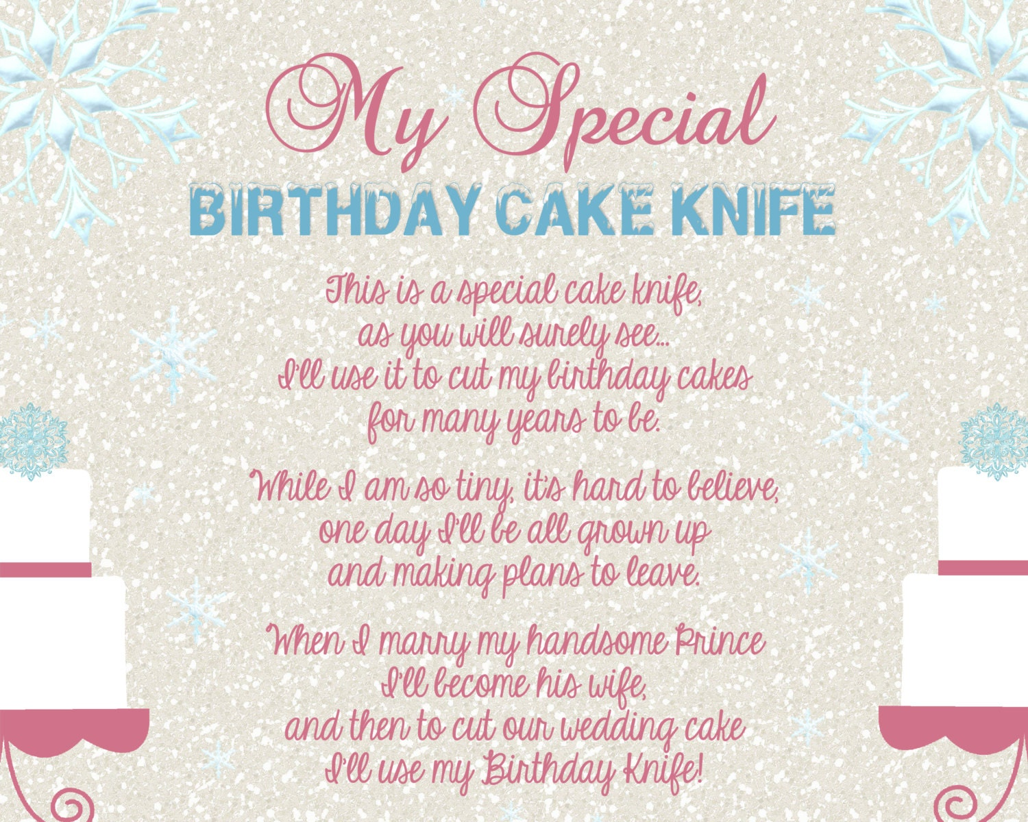 Frozen Winter Wonderland Girly Baby Shower Birthday Cake Knife