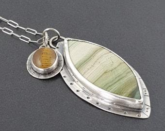 Swamp Bog Jasper Charm Necklace, gary green, larsonite, green silver, boho necklace, bohemian necklace, leaf, michele grady, tiger eye