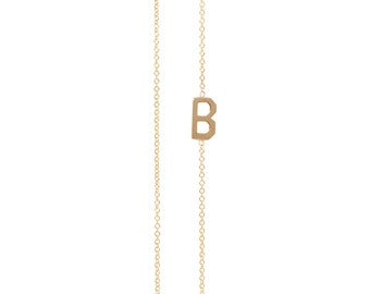 14k Gold Asymmetrical Initial Necklace/Personalized Necklace/Bridal Shower/Wedding/Bridesmaids/Birthday Gift/Anniversary/Initial Necklace