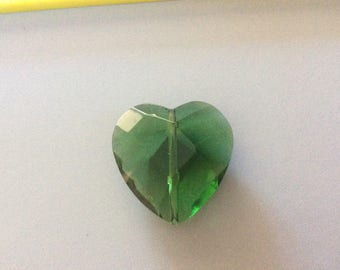 1 large faceted Glass heart