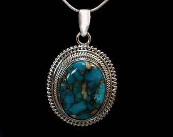 Copper Turquoise Silver Pendant