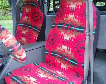 1 Set of Red Moondance Print Car Seat Covers and Steering Wheel Cover, Custom made.