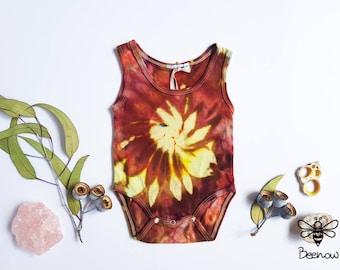 UPcycled Cotton Baby Bodysuit / Romper / Onesie, Ice Tie Dye, Size 0-3 months