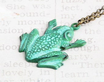 Green Frog Necklace, Hand Patina Frog Pendant on Antiqued Brass Chain, Animal Jewelry