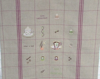 Coffee Tea towel embroidery