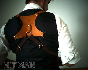 Dual Camera Leather Holster, Laser engraved RF HITMAN
