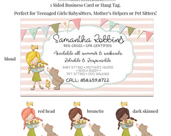 Pet business card etsy baby sitter card mothers helper business card pet sitting card pet card business card babysitting card kids business card teenager colourmoves